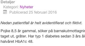Dagens Diabetes avidentifierat och fiktivt