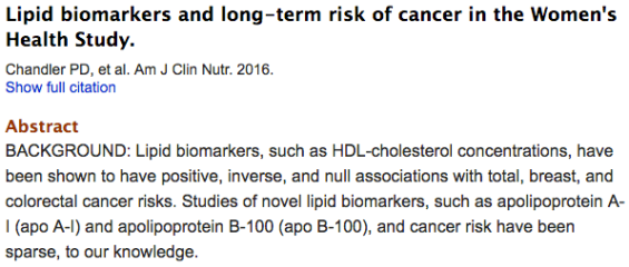 Lipid biomarkers and long-term risk of cancer in the Women's Health Study